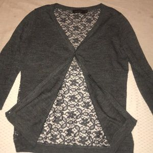 The Limited gray cardigan sweater with lace back